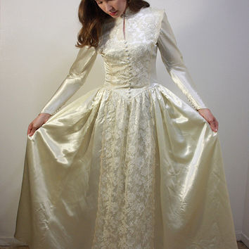 Satin and Lace 1940s Wedding Gown // Ivory Miriam Originals Wedding Dress
