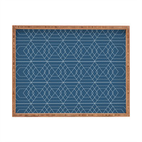 Vy La Blue Hex Rectangular Tray