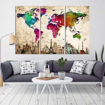 52332 - Hot Color Push Pin World Map Wall Art Canvas Print | Large Wall Art for Home and Office Decor