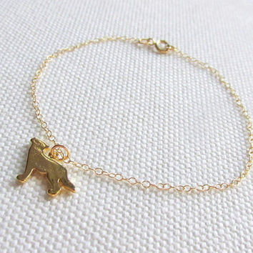 Gold Wolf Bracelet, Cute Modern Charm Bracelet Choose Gold Plate or 14k Gold Fill Chain, Minimalist Quirky Howling Wolf Jewelry