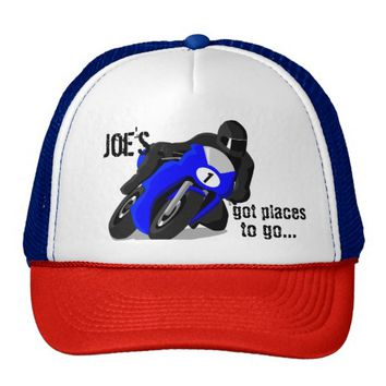 Black and Blue Motorcycle Customized Cap Trucker Hat