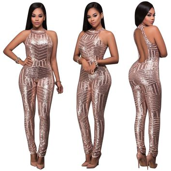 Sequins Gold Jumpsuit with Open Back