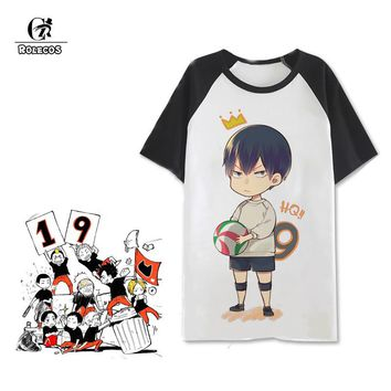ROLECOS Anime Haikyuu!! Uniform Karasuno High School Volleyball Club Cosplay Costumes Lovely Print Short Sleeve Unisex T shirt