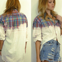 Redesigned Ombre Plaid High Low Boyfriend Shirt One Size