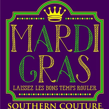 Southern Couture Classic Mardi Gras Vintage Crown Girlie Long Sleeve Bright T Shirt