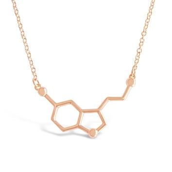 Rose Gold Serotonin Molecule Necklace
