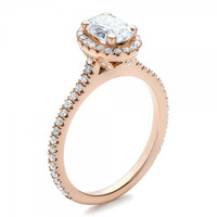 Oval Cut 1ct Synthetic Diamond 925 Sterling Silver Jewelry Rose Gold Plated Engagement Wedding Ring For Women