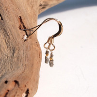 Raw silver diamond dangle earrings on 14k gold filled ear wires