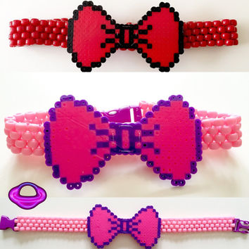 White rabbit alice in wonderland kandi bowtie choker, rave kandi necklace choker