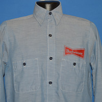 80s Budweiser Beer Chambray Work Shirt Small