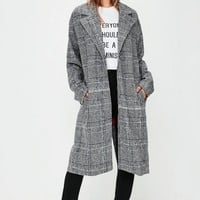 Missguided - Grey Check Print Coat
