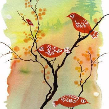 Dusk-Lit Gathering - Art Print watercolor painting office decor idea red birds flower blossoms autumn sunset matryoshka doll Oladesign 11x14