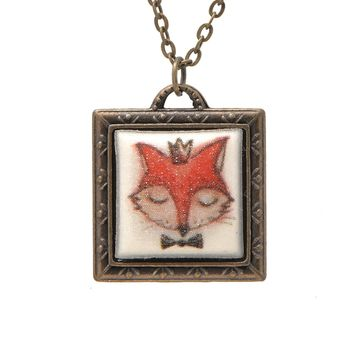 Folk Art Fox Head Picture Frame Necklace