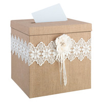 Burlap and Lace Card Box with White Flower Country Rustic Wedding