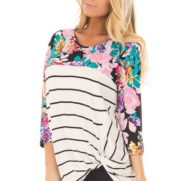 Ivory and Black Striped Top with Floral Contrast