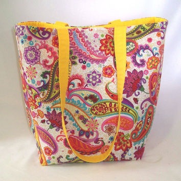 Paisley Tote Bag, Fabric Bag, Cloth Purse, Flowers, Handmade Bag, Shoulder Bag, Handbag