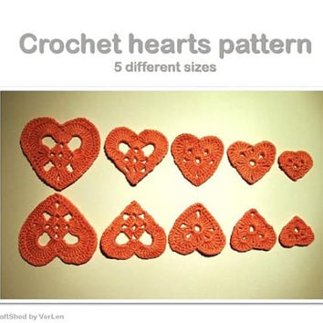 PDF Crochet pattern - Crochet hearts 5 sizes