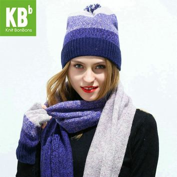 2017 KBB Women Scarf Hat Set Knitted Wool Lambswool Female Women's Scarves Tippet Gloves With Beanie Hats Cap For Winter