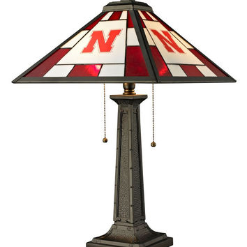 University of Nebraska Glass Table Lamp