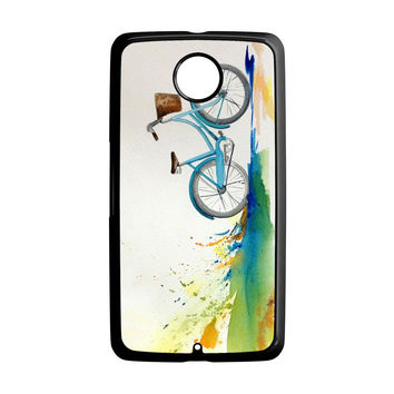 Watercolor bicycle colorful landscape Nexus 6 Case