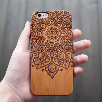 Cherry Wood One Piece Mandala iPhone 6 6s Case Wood , Personalized iPhone 6 6s Wood Case , Engraved iPhone 6 6s Case Wood , Valentine's Gift