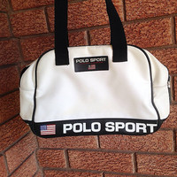 Vintage 90's Polo Sport Ralph Lauren Carry Bag Purse book bag white
