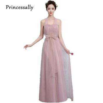 New Dusty Pink Bridesmaid Dress Long Off Shoulder Tulle Sweetheart A Line Pleated Gown For Wedding Prom Party Dresses Under $50