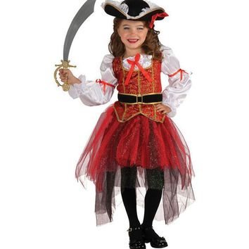 New 3 Pcs/Set Halloween Christmas Pirate Costumes Girls Party Cosplay Costume for Children Kids Clothes Performance Kindergarten