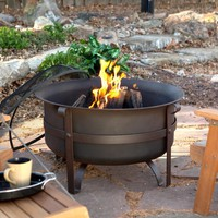 Heavy Duty 34-inch Fire Pit Deep Steel Cauldron with Screen Stand & Cover