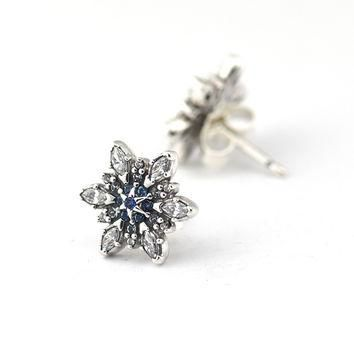 Compatible With Pandora Charms Crystallized Snowflake Stud Earrings With Blue Crystal