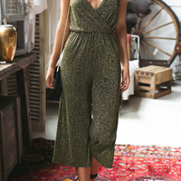 Green Wrap Front Spaghetti Strap Jumpsuit
