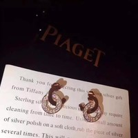 PIAGET logo stud New arrival Electroplating of 18 K gold with retro earrings stud gold