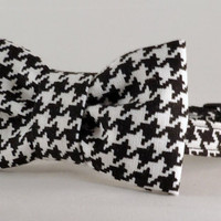 Cat Collar and Bow Tie or Flower - Black and White Houndstooth