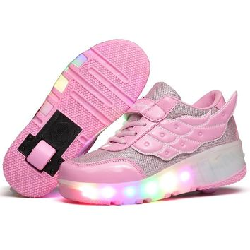 Colorful LED Flashing Single Roller Skate Shoes LED Light Shoe Roller Shoes Roller Skates Luminous Sneakers Women Light Up Shoes