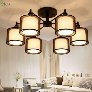 2016 Nordic Art Deco Double Black Fabric Lampshades Led Chandelier 85-265V Korea Simple Iron Ceiling Chandelier