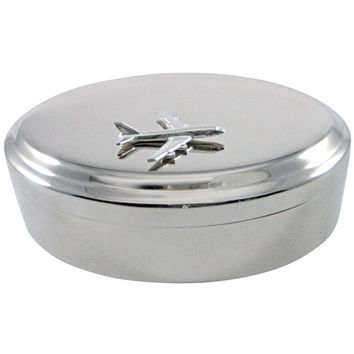 Smooth Large Commercial Jet Plane Pendant Oval Trinket Jewelry Box