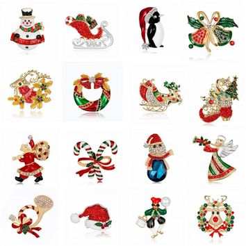 Rinhoo Christmas gift Crystal bell shoe boots deer snowman penguin cat Santa Claus Brooches Pins Wedding Jewelry women brooch