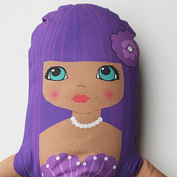 SOFT DOLL girl purple hair mermaid fabric plush softie play toy ragdoll