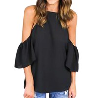 Women's Summer Black Cold Shoulder Blouse with Butterfly Ruffle Sleeve