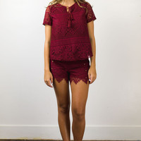 Deep Red Woven Pant