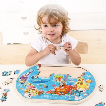Dental House Kids Educational Wooden Toys 80Pcs Puzzles World Map European/Asia/South Africa Plate Ocean Infant Early Learning