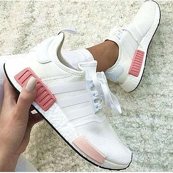 "simpleclothesv : ""Adidas"" NMD Fashion Sneakers Trending Running Sports Shoes Whtie-pin"
