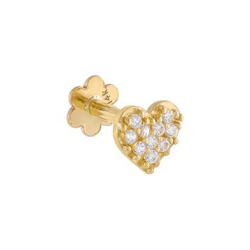 Mini Pavé Heart Threaded Stud Earring 14K