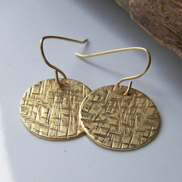 Etsy, Golden Disc Earrings: Criss Cross Hammered Brass Disc Earrings, Disc Earrings, Gold Earrings, Jewelry, Gift