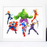 Avengers Print Watercolor Superhero Marvel - Art Print, Aquarelle Room Decor, Avengers Poster, Home Baby Nursery Wall Art