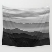 Mountains mist. BN Wall Tapestry by Guido Montañés