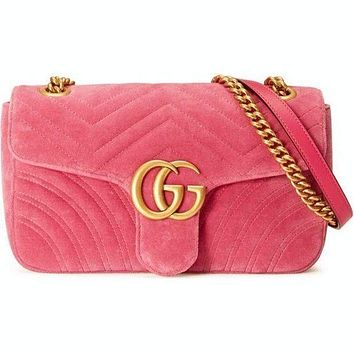 GUCCI Women Velvet Shopping Leather Metal Chain Crossbody Satchel Shoulder Bag