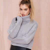 Loose Ribbing Turtleneck Womens Sweaters LAVELIQ