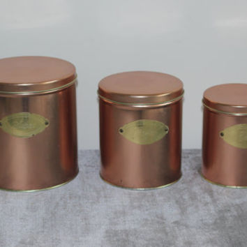 Vintage Ballonoff copper nestling tins, sugar bin, coffee and tea bin, kitchen storage, containers, vintage tins