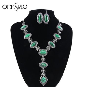 OCESRIO Green Malachite Jewelry with Stones Retro Vintage Jewelry Sets Big Choker Necklace for Women Gifts Drop Earrings nke-m50